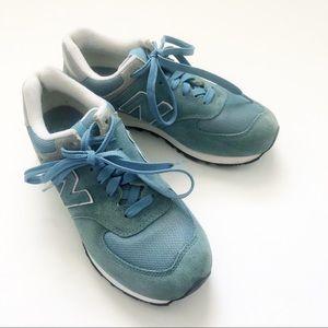 Women's New Balance 574 size 8.5 Sky Blue Suede